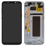 LCD compatible with Samsung G955 Galaxy S8 Plus, (silver, with touchscreen, with frame, Original (PRC), arctic Silver, original glass)