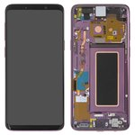 LCD compatible with Samsung G960 Galaxy S9, (purple, with touchscreen, with frame, Original (PRC), lilac Purple, original glass)
