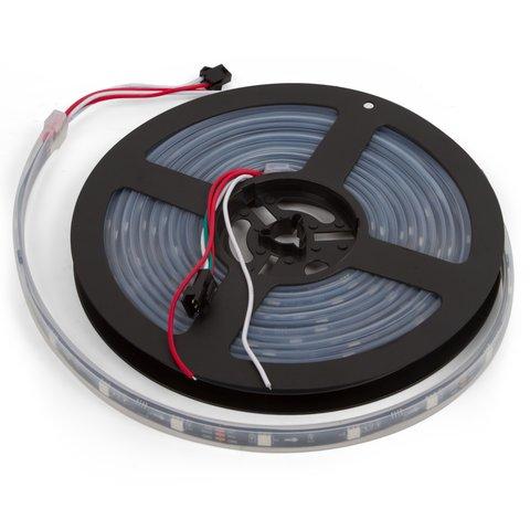 Світлодіодна стрічка RGB SMD5050, WS2811 (чорна, з управлінням, IP67, 12 В, 30 діодів/м, 5 м)